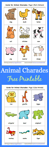 This is a picture of Wild Charades for Kids Printable